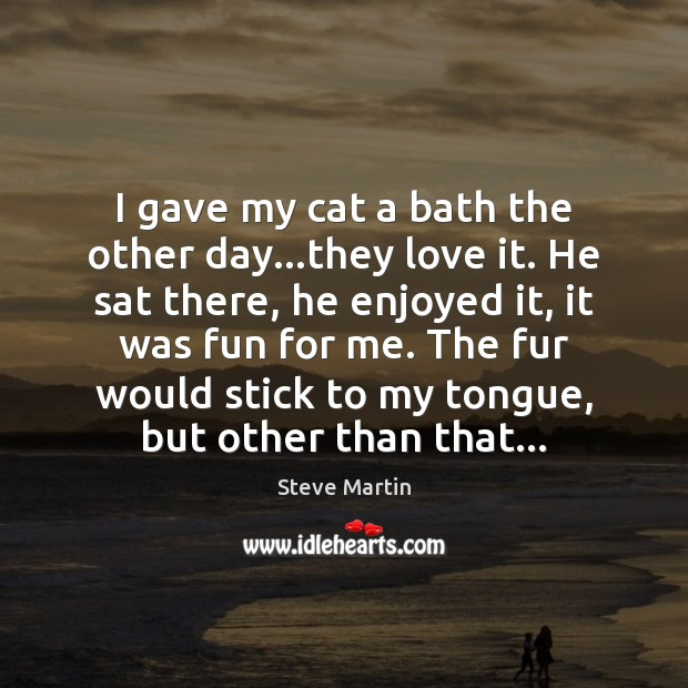 I gave my cat a bath the other day…they love it. Steve Martin Picture Quote