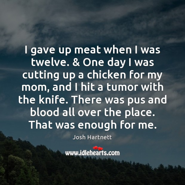 I gave up meat when I was twelve. & One day I was Josh Hartnett Picture Quote