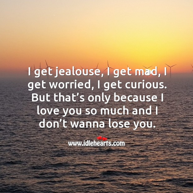I get jealouse, I get mad, I get worried, I get curious. But that's only because I love you so much and I don't wanna lose you. Love You So Much Quotes Image