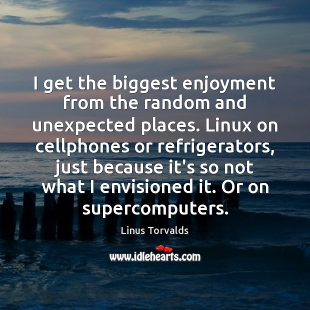 I get the biggest enjoyment from the random and unexpected places. Linux Linus Torvalds Picture Quote