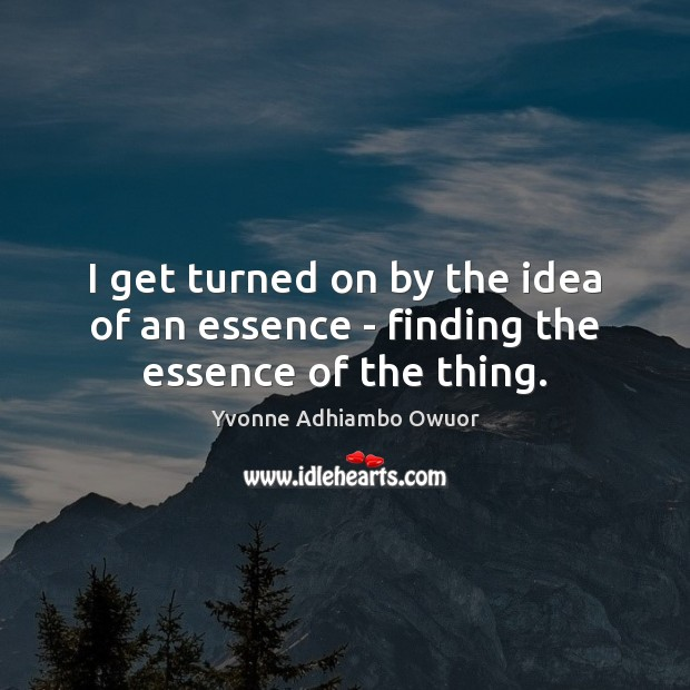 I get turned on by the idea of an essence – finding the essence of the thing. Yvonne Adhiambo Owuor Picture Quote