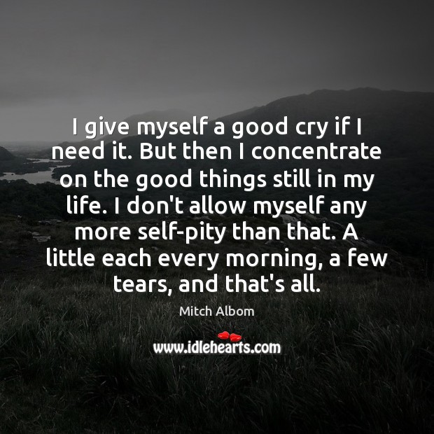 I give myself a good cry if I need it. But then Mitch Albom Picture Quote