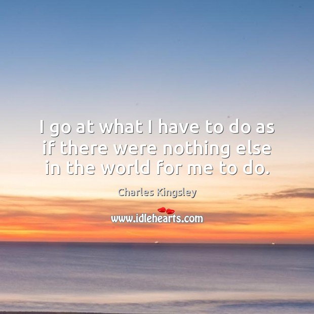I go at what I have to do as if there were nothing else in the world for me to do. Image