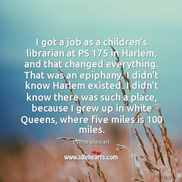 I got a job as a children's librarian at PS 175 in Harlem, Image