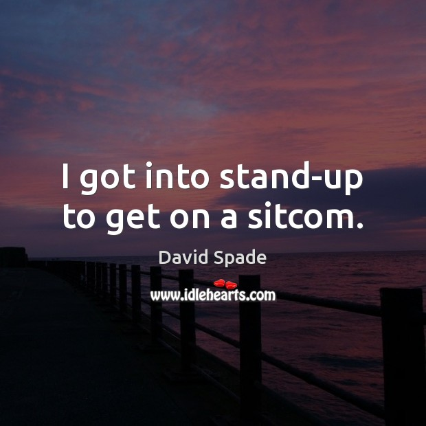 David Spade Picture Quote image saying: I got into stand-up to get on a sitcom.