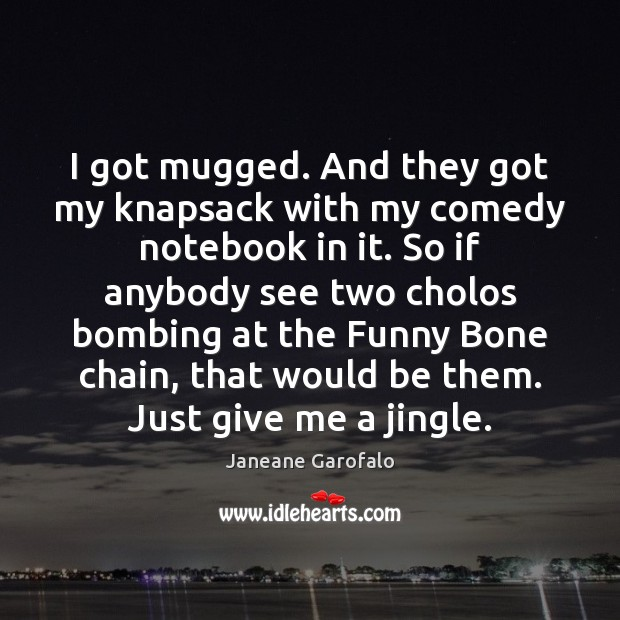 I got mugged. And they got my knapsack with my comedy notebook Janeane Garofalo Picture Quote