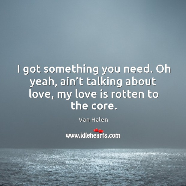 I got something you need. Oh yeah, ain't talking about love, my love is rotten to the core. Van Halen Picture Quote