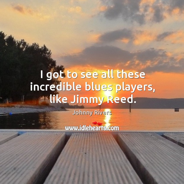 I got to see all these incredible blues players, like jimmy reed. Image