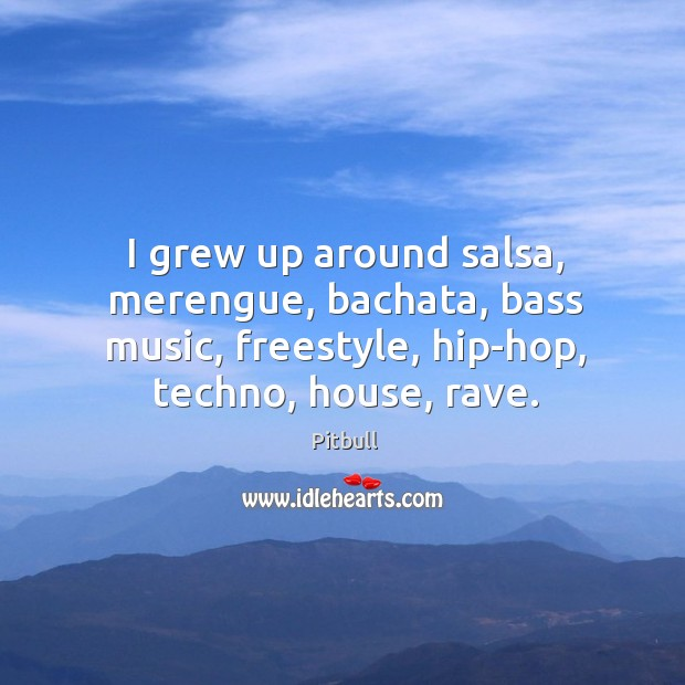 Image, I grew up around salsa, merengue, bachata, bass music, freestyle, hip-hop, techno,