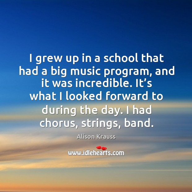I grew up in a school that had a big music program, and it was incredible. Alison Krauss Picture Quote