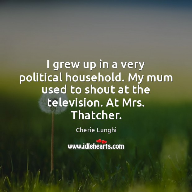I grew up in a very political household. My mum used to Image