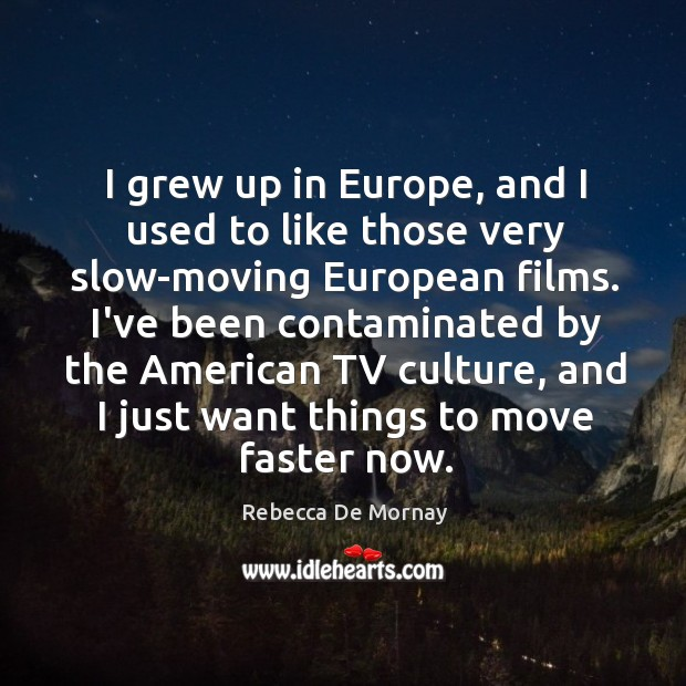 I grew up in Europe, and I used to like those very Rebecca De Mornay Picture Quote