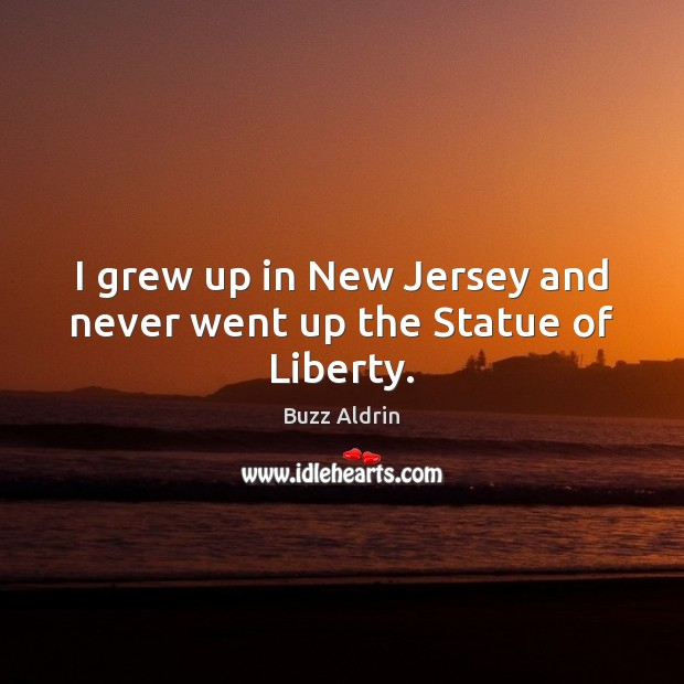 I grew up in New Jersey and never went up the Statue of Liberty. Buzz Aldrin Picture Quote
