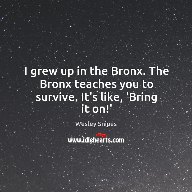 I grew up in the Bronx. The Bronx teaches you to survive. It's like, 'Bring it on!' Wesley Snipes Picture Quote
