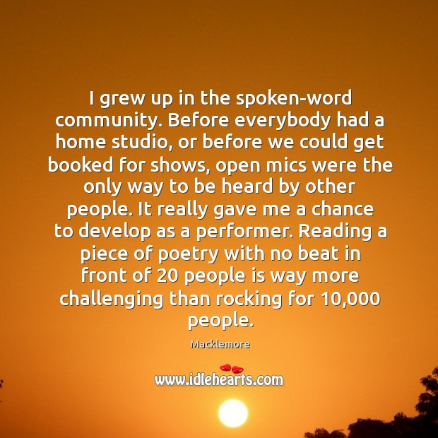 I grew up in the spoken-word community. Before everybody had a home Image