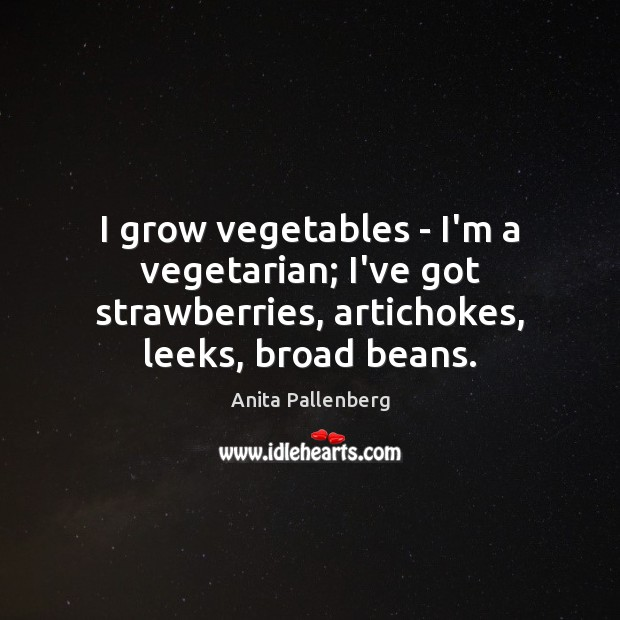 Image, I grow vegetables – I'm a vegetarian; I've got strawberries, artichokes, leeks,