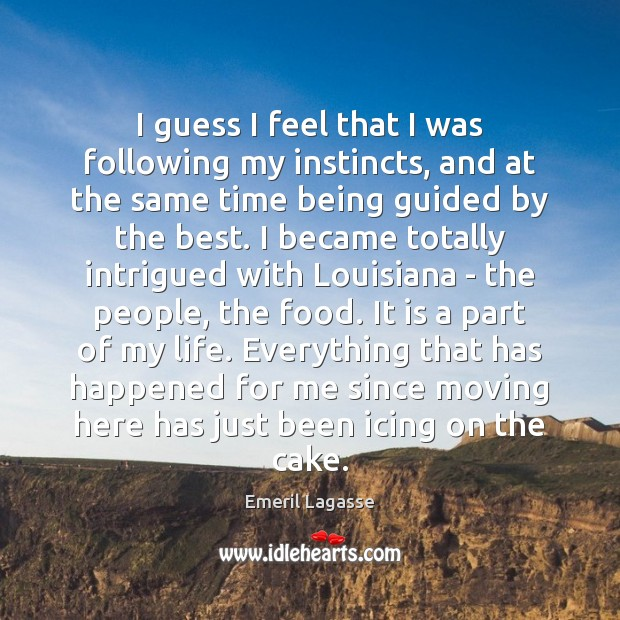 I guess I feel that I was following my instincts, and at Emeril Lagasse Picture Quote