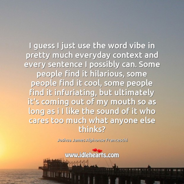 I guess I just use the word vibe in pretty much everyday Joshua James Alphonse Franceschi Picture Quote