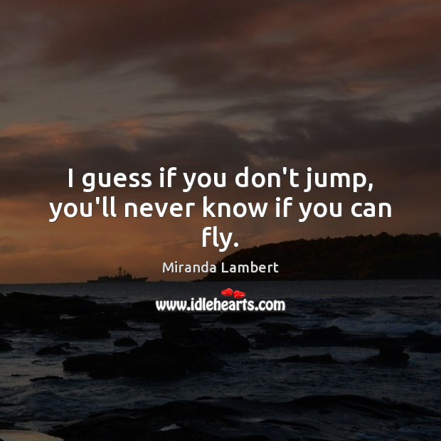 I guess if you don't jump, you'll never know if you can fly. Image