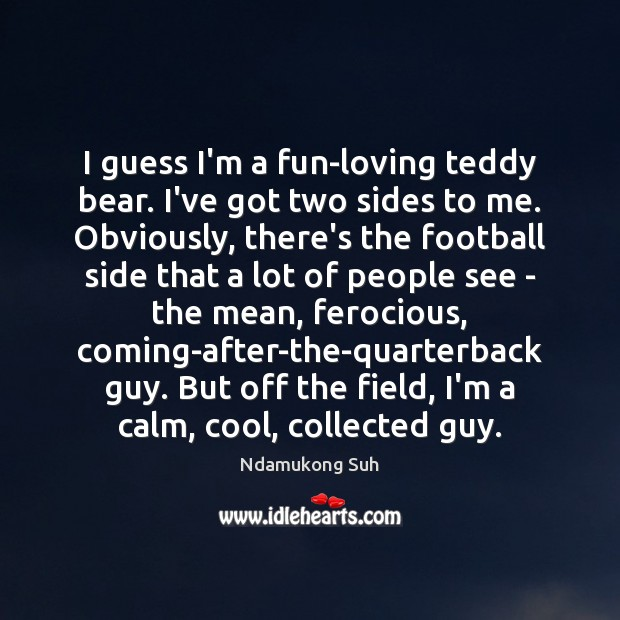 I guess I'm a fun-loving teddy bear. I've got two sides to Image