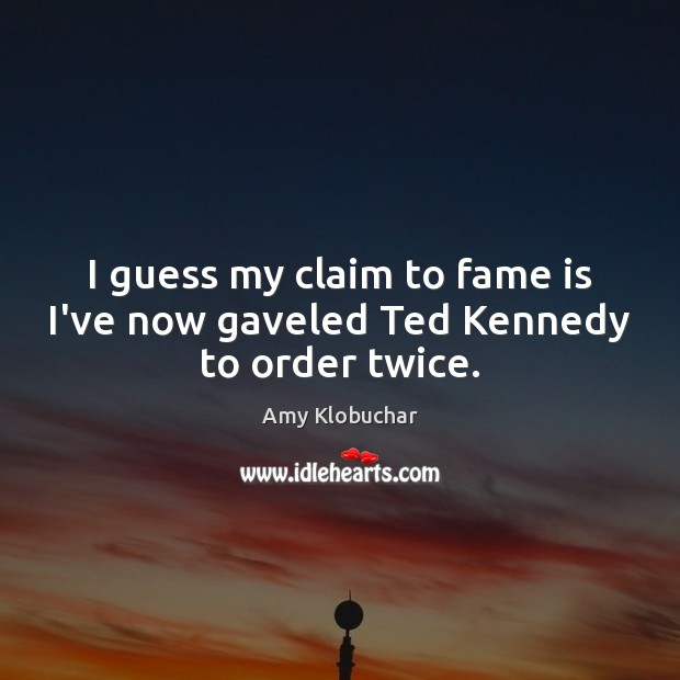 Image, I guess my claim to fame is I've now gaveled Ted Kennedy to order twice.