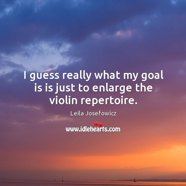 I guess really what my goal is is just to enlarge the violin repertoire. Leila Josefowicz Picture Quote
