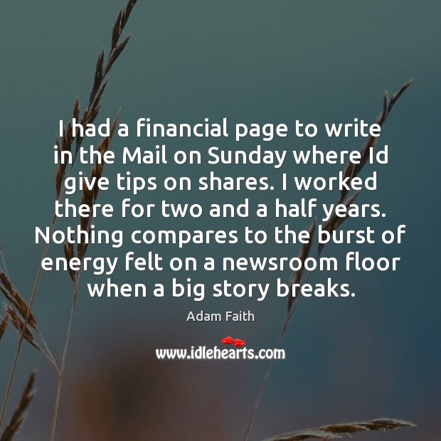 I had a financial page to write in the Mail on Sunday Image