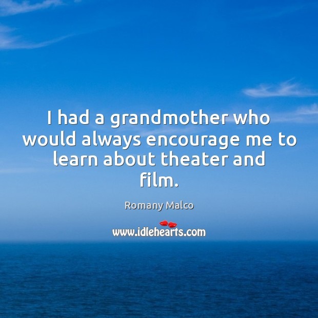 I had a grandmother who would always encourage me to learn about theater and film. Romany Malco Picture Quote