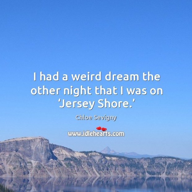 I had a weird dream the other night that I was on 'jersey shore.' Chloe Sevigny Picture Quote