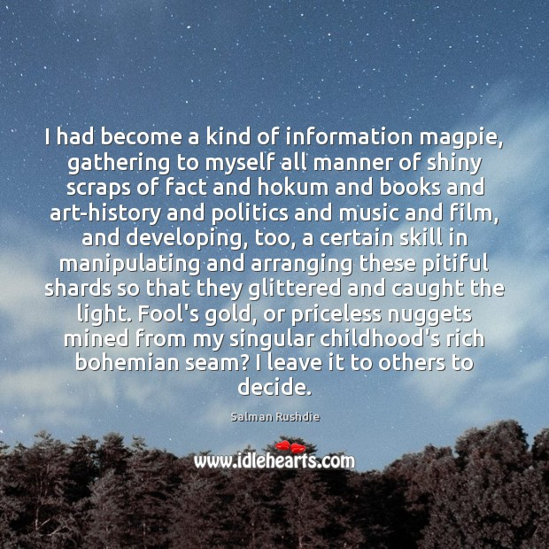 Image, I had become a kind of information magpie, gathering to myself all
