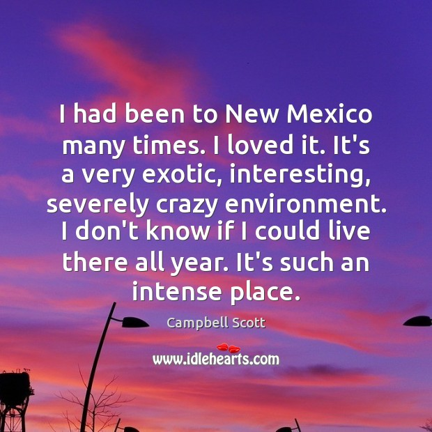 Image, I had been to New Mexico many times. I loved it. It's