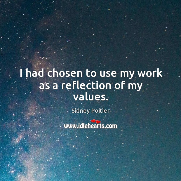 I had chosen to use my work as a reflection of my values. Image
