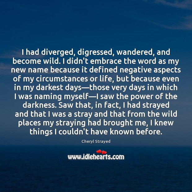 I had diverged, digressed, wandered, and become wild. I didn't embrace the Image