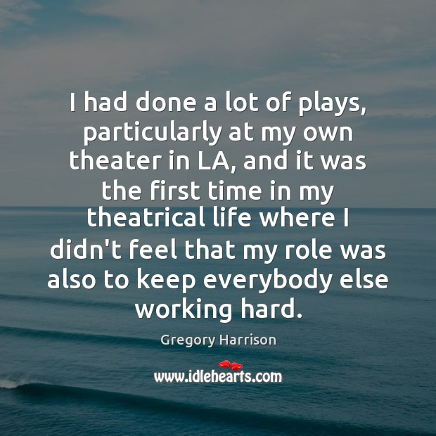 Image, I had done a lot of plays, particularly at my own theater