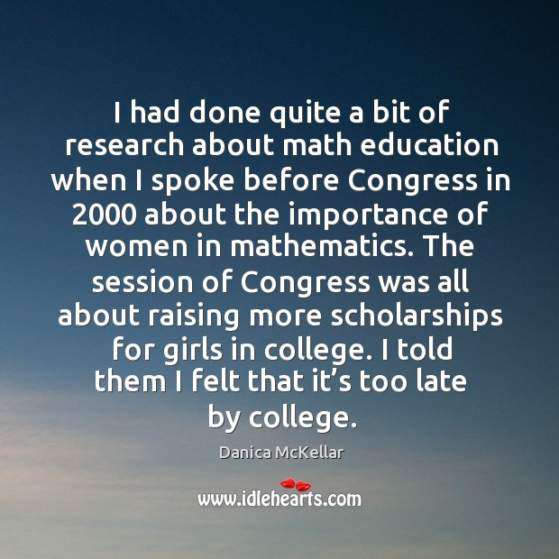 I had done quite a bit of research about math education when I spoke before congress in Image