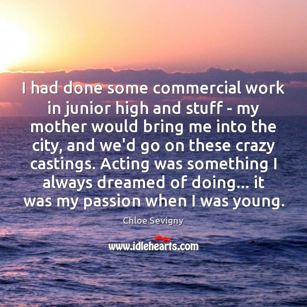I had done some commercial work in junior high and stuff – Chloe Sevigny Picture Quote