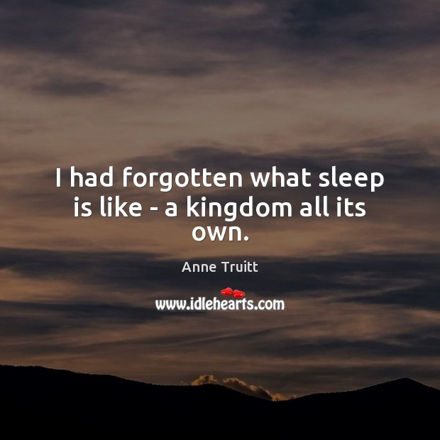 I had forgotten what sleep is like – a kingdom all its own. Sleep Quotes Image
