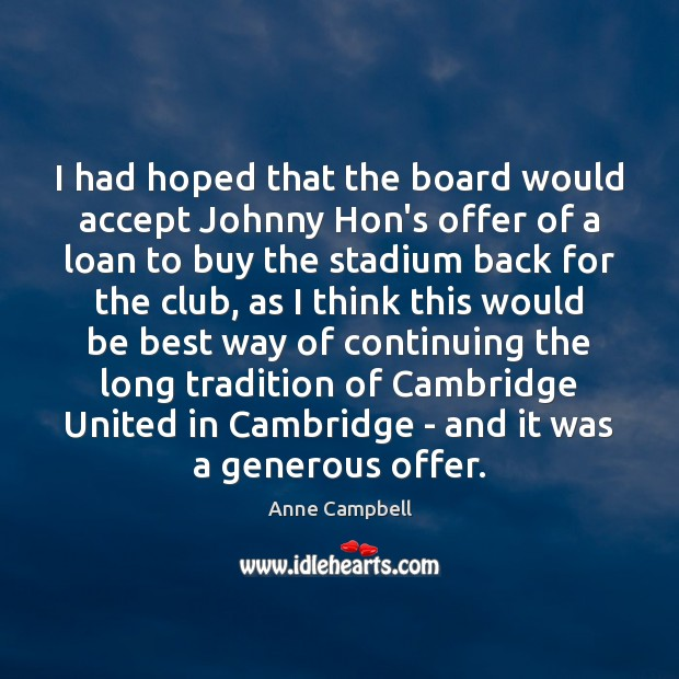 Image, I had hoped that the board would accept Johnny Hon's offer of
