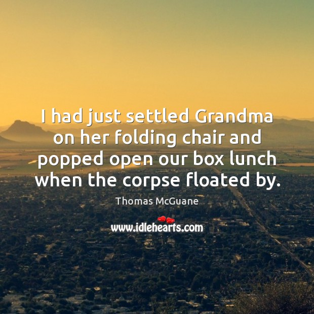 I had just settled Grandma on her folding chair and popped open Image