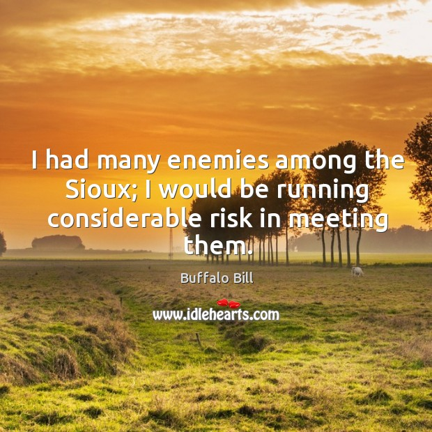 I had many enemies among the sioux; I would be running considerable risk in meeting them. Image