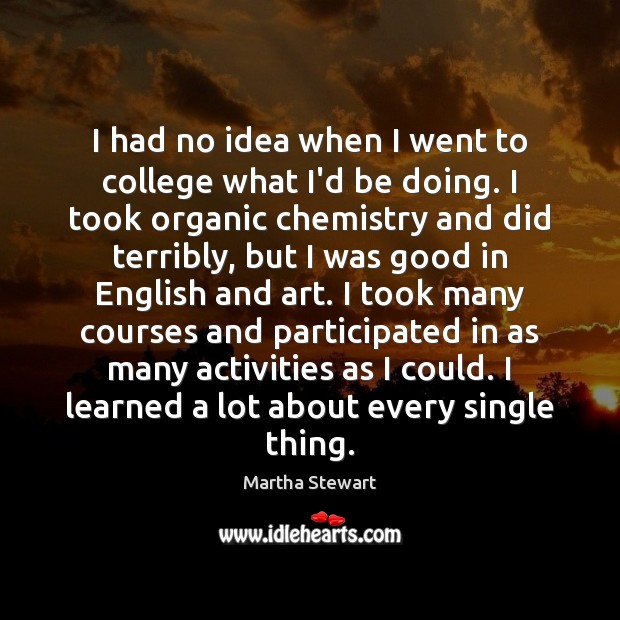 I had no idea when I went to college what I'd be Martha Stewart Picture Quote