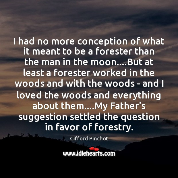 I had no more conception of what it meant to be a Gifford Pinchot Picture Quote
