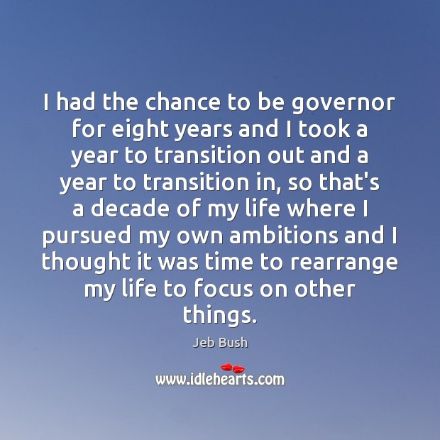 I had the chance to be governor for eight years and I Jeb Bush Picture Quote