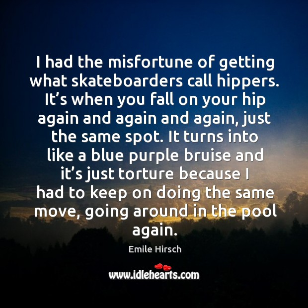 I had the misfortune of getting what skateboarders call hippers. It's when you fall on your hip again Emile Hirsch Picture Quote
