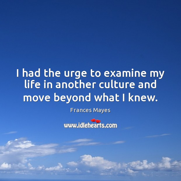 I had the urge to examine my life in another culture and move beyond what I knew. Image