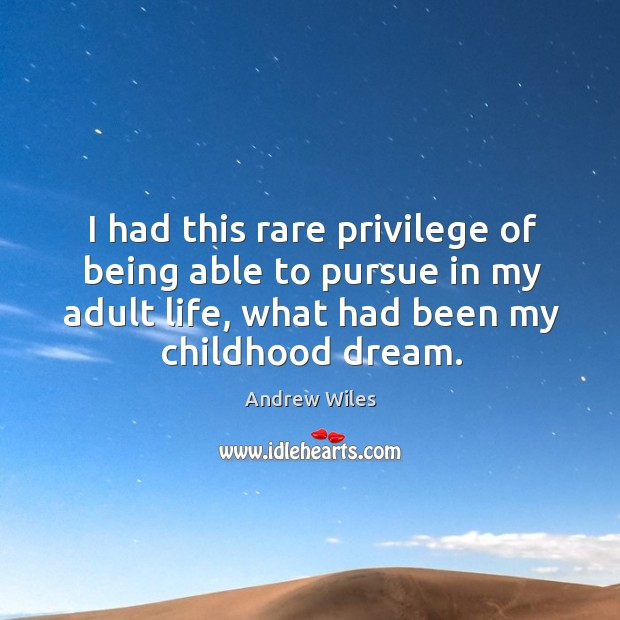 I had this rare privilege of being able to pursue in my adult life, what had been my childhood dream. Andrew Wiles Picture Quote