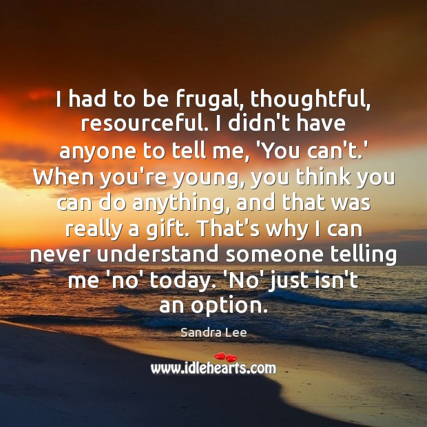 I had to be frugal, thoughtful, resourceful. I didn't have anyone to Sandra Lee Picture Quote