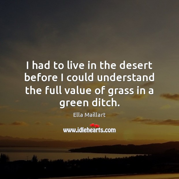 I had to live in the desert before I could understand the Value Quotes Image