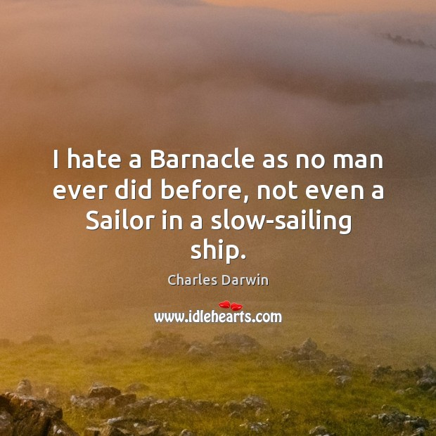 I hate a Barnacle as no man ever did before, not even a Sailor in a slow-sailing ship. Charles Darwin Picture Quote