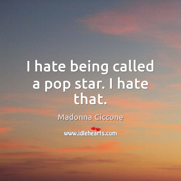 Image, I hate being called a pop star. I hate that.